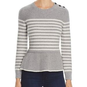 NWOT Kate Spade Gray White Striped Peplum Sweater